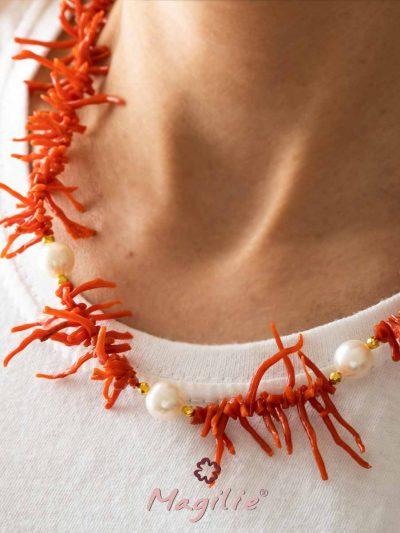 Collana Corallo e perle d'acqua dolce